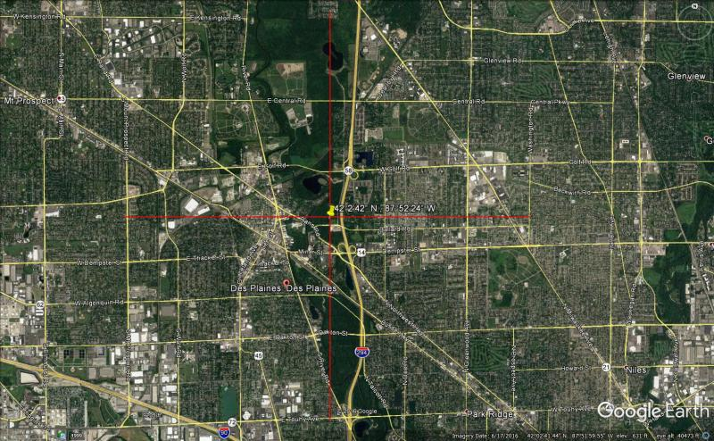 Location of Des Plaines Impact Crater, Illinois