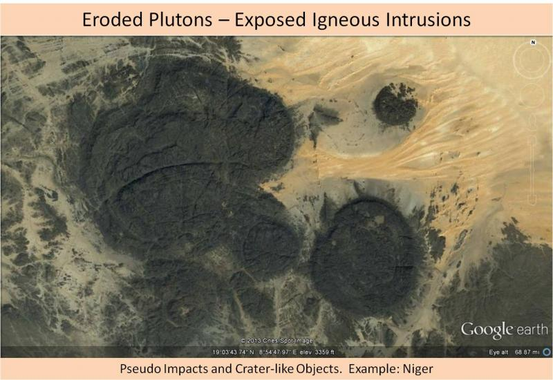Not an impact crater - eroded plutons