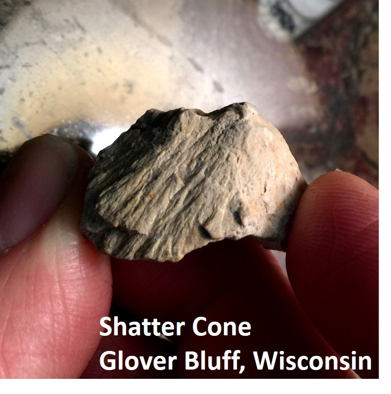 Shatter Cone from Glover Bluff Crater, Wisconsin