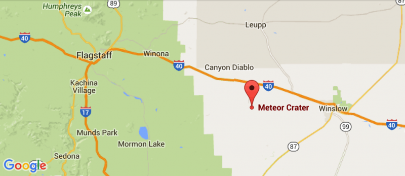 Meteor Crater Arizona Map.United States Meteorite Impact Craters Barringer Crater Arizona