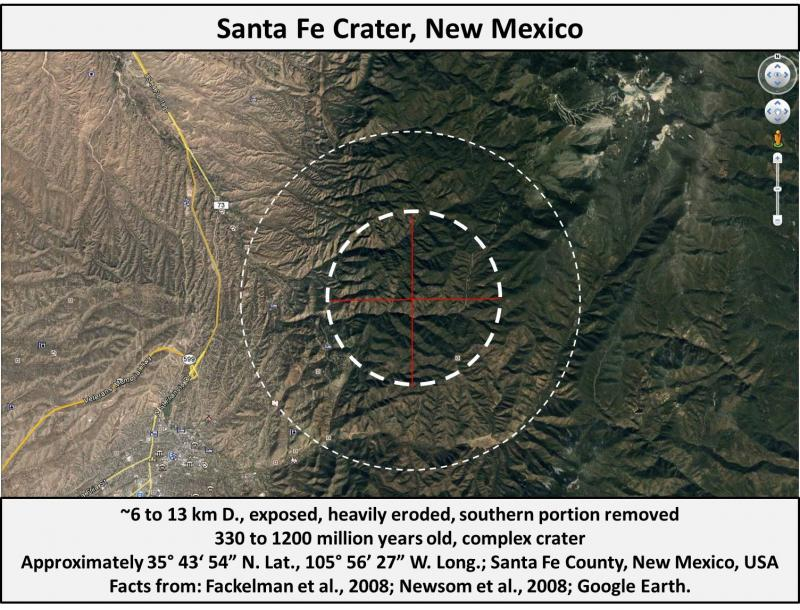 United States Meteorite Impact Craters - Santa Fe impact ... on map of meteor craters in usa, impact crater map usa, meteorite impact sites in usa, lightning strike map usa,